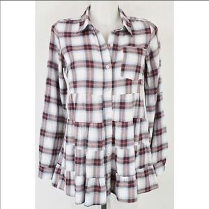 Free People Babydoll Plaid Button Down Top-Size 4